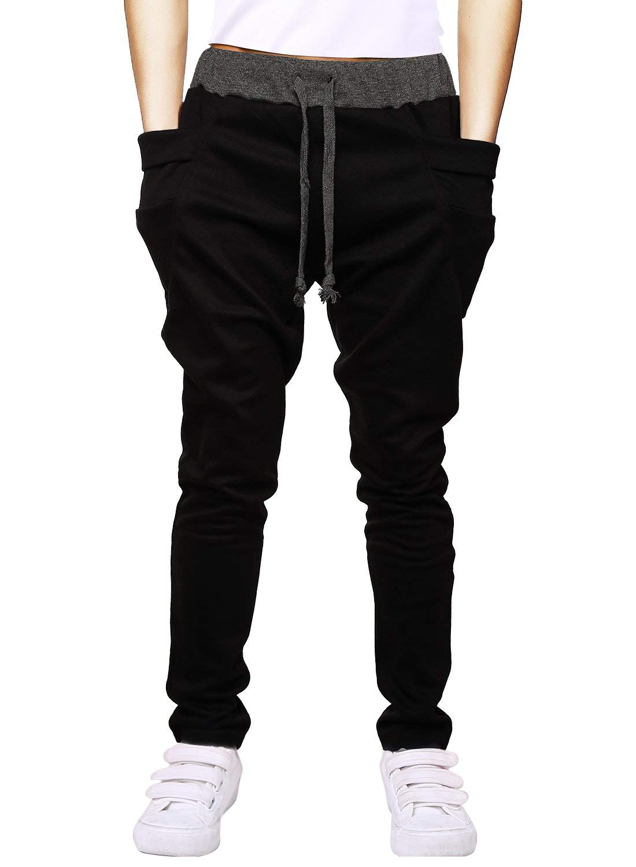 Boys Cotton Sweatpants Adjustable Waist Jogger Pants Trousers in Basic Colors,B8 Black,Tag size 160=12