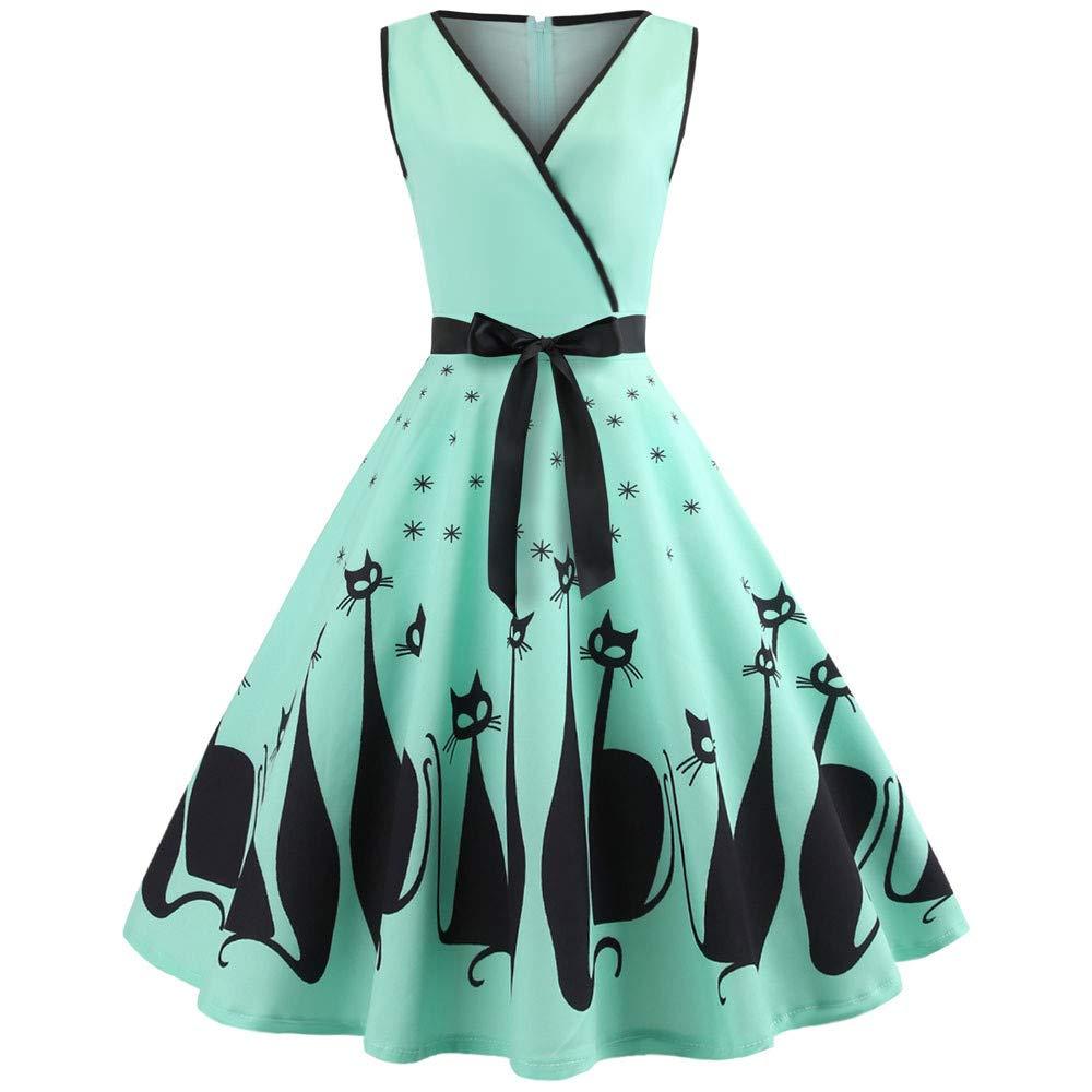 Women Cat Printed Dress Deep V Neck Sleeveless Evening Party Dress Swing Retro Green XXL