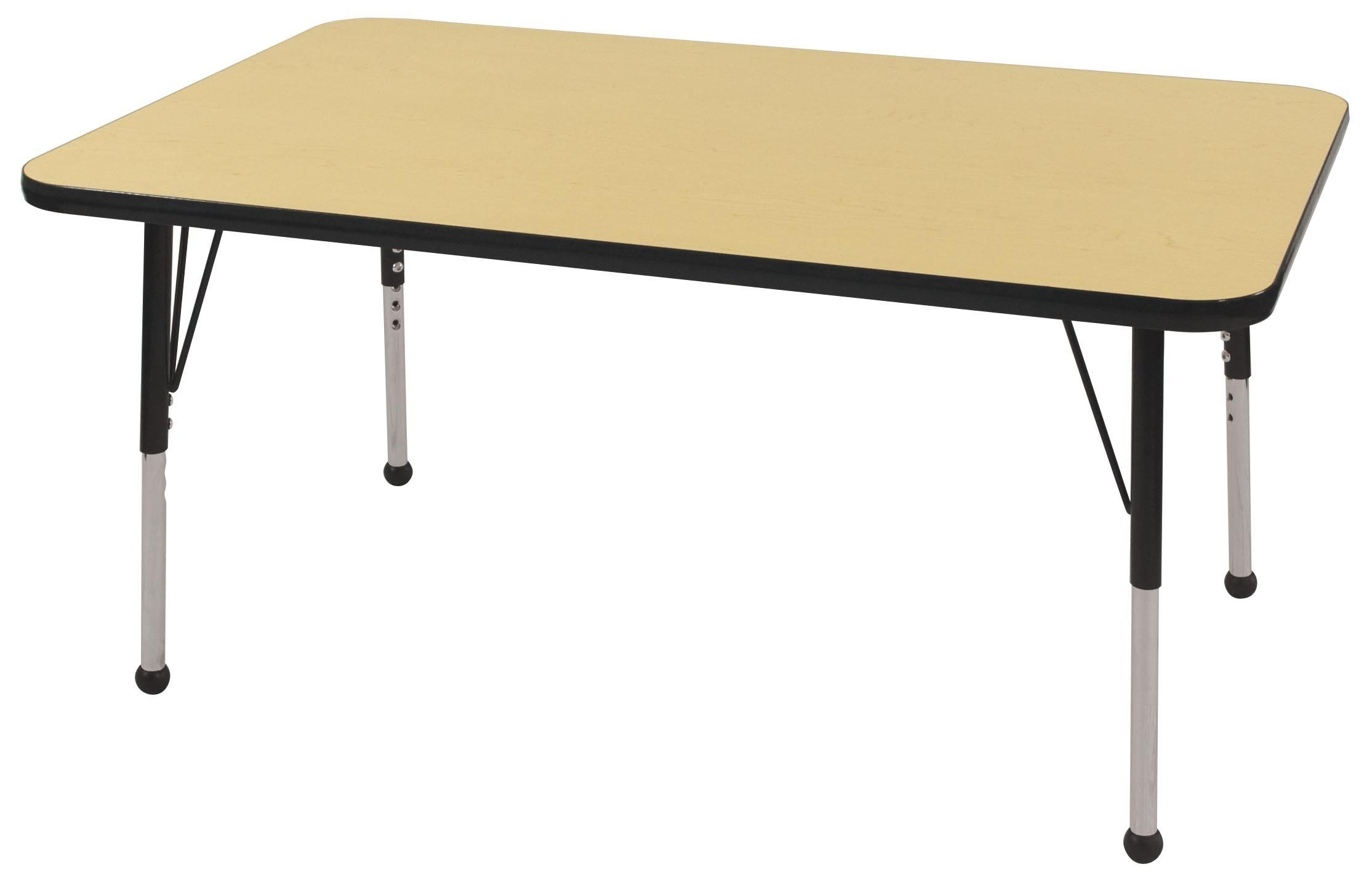ECR4Kids Mesa T-Mold 30'' x 48'' Rectangular School Activity Table, Standard Legs w/ Ball Glides, Adjustable Height 19-30 inch (Maple/Black) by ECR4Kids