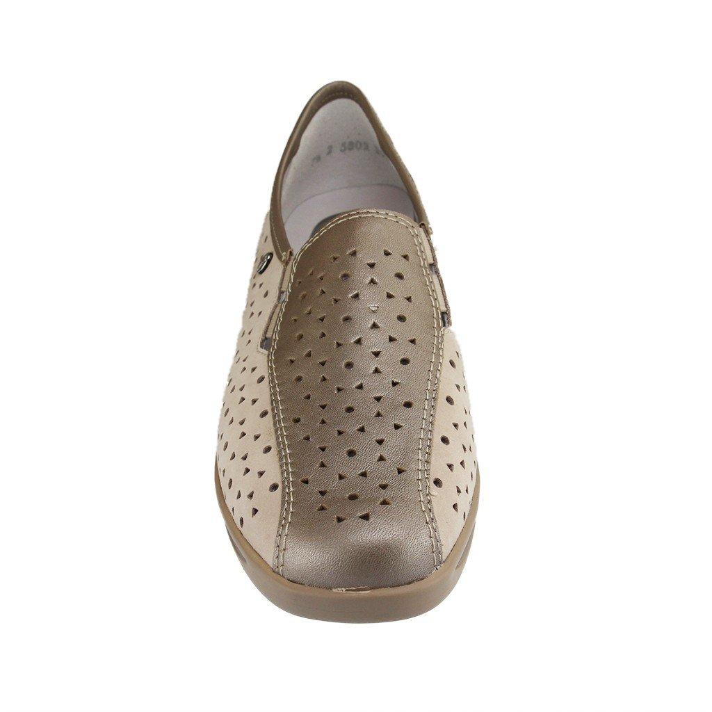 Ara Damen Slipper Komfort Weit Slipper Halbschuh Extra Weit Komfort Meran 36386-08 Beige 132543 Taupe/Cemento Weite H b50176