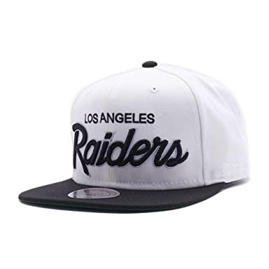 9034543ee69 Mitchell   Ness Los Angeles Raiders White and Black Vintage Script N.W.A Adjustable  Snapback Hat NFL