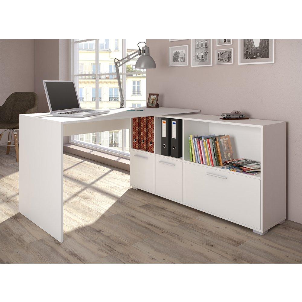 Eckschreibtisch weiß holz  Eckschreibtisch 136 x 75cm Weiß / Eiche Sonoma - Schreibtisch ...
