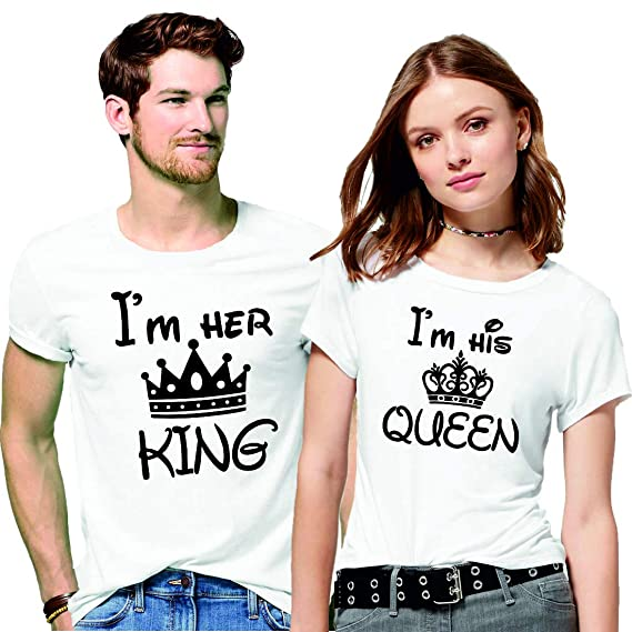 f771fe855 Hangout Hub Men's and Women's Couple's Cotton I Am Her King I Am His Queen  Printed. Roll over image to zoom in