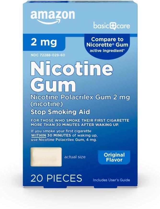 Amazon Basic Care Nicotine Polacrilex Uncoated Gum 2 mg (nicotine), Original Flavor, Stop Smoking Aid; quit smoking with nicotine gum, 20 Count
