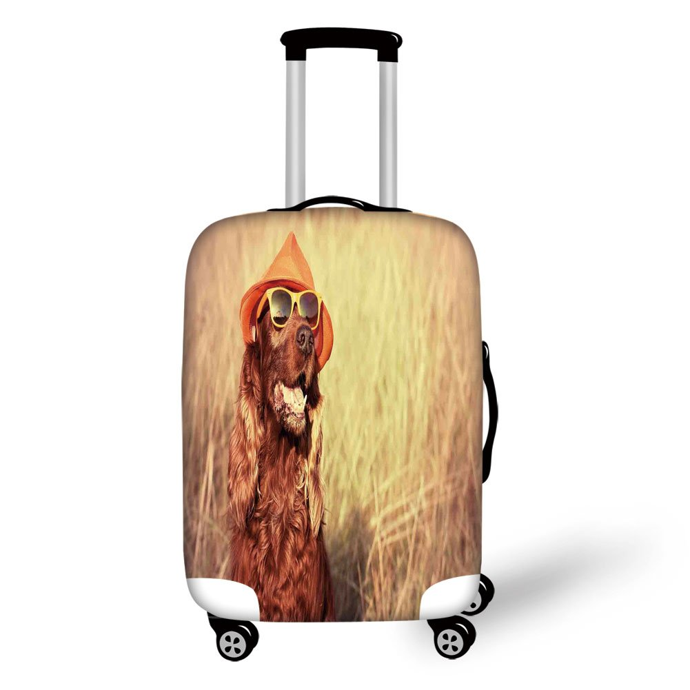 Travel Luggage Cover Suitcase Protector,Animal Decor,Funny Retro Irish Setter Dog Wearing Hat and Sunglasses Humor Joy Picture,Redbrown Tan,for Travel
