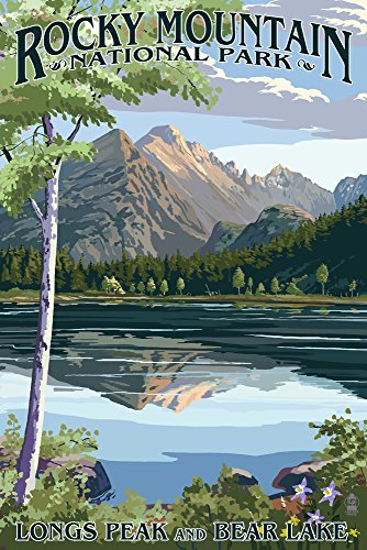 Longs Peak and Bear Lake Summer- Rocky Mountain National Park (9x12 Art Print, Wall Decor Travel Poster)