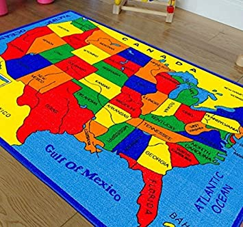 Wonderful Handcraft Rugs Educational Rugs United States Map For School/Classroom.