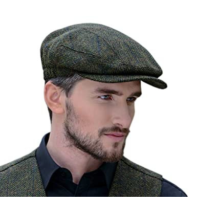 a30716824 Peaky Blinders Cap for Men, Made in Ireland, 100% Irish Tweed, Green