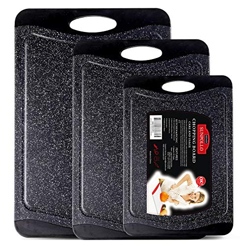 SUNPOLLO Extra Large Cutting Board (3-Piece Set), Plastic Kitchen Chopping Board with Juice Groove - Marble Appearance, Non Slip, BPA Free, Dishwasher Safe and Larger Thicker Boards