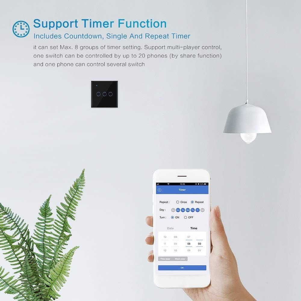Galapara Interruptor Inteligente Control de App Interruptor de luz t/áctil Interruptores inal/ámbricos Interruptor de luz WiFi Smart Wall Compatible con Alexa y Google Home Assistant