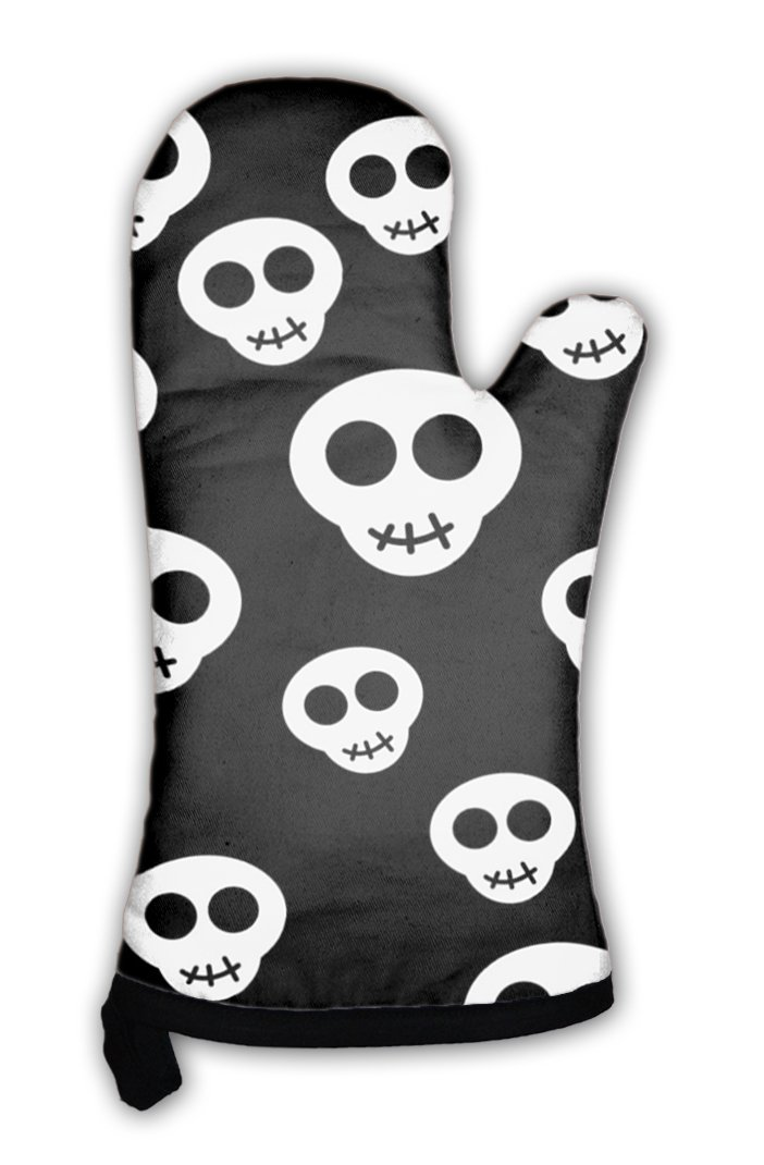 Gear New Oven Mitt, Pattern With White Skulls, GN7416