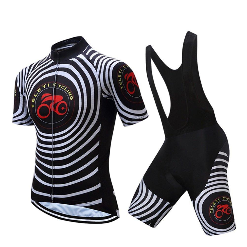 Beauty leader Herren Kurzarm-Radtrikot mit Bib Shorts - Schwarz Bike gepolsterte Shorts Chamois Bekleidung Anzüge, atmungsaktiv, 3D