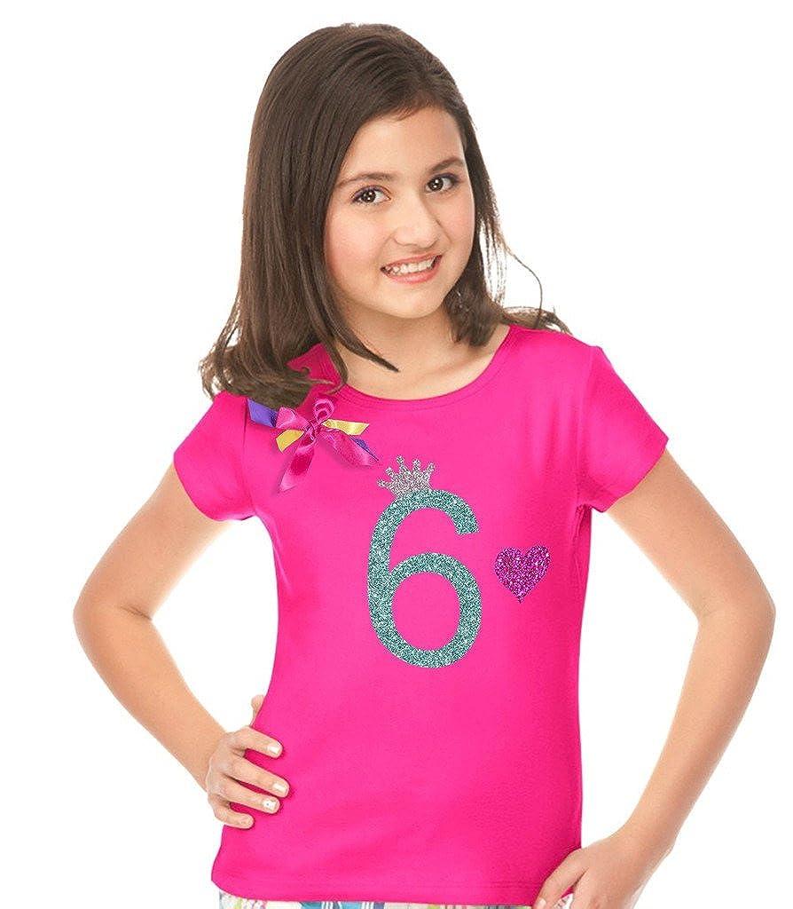 Bubblegum Divas Big Girls 6th Birthday Shirt Rainbow Outfit Socks Hair Bow 4pc Gift Set