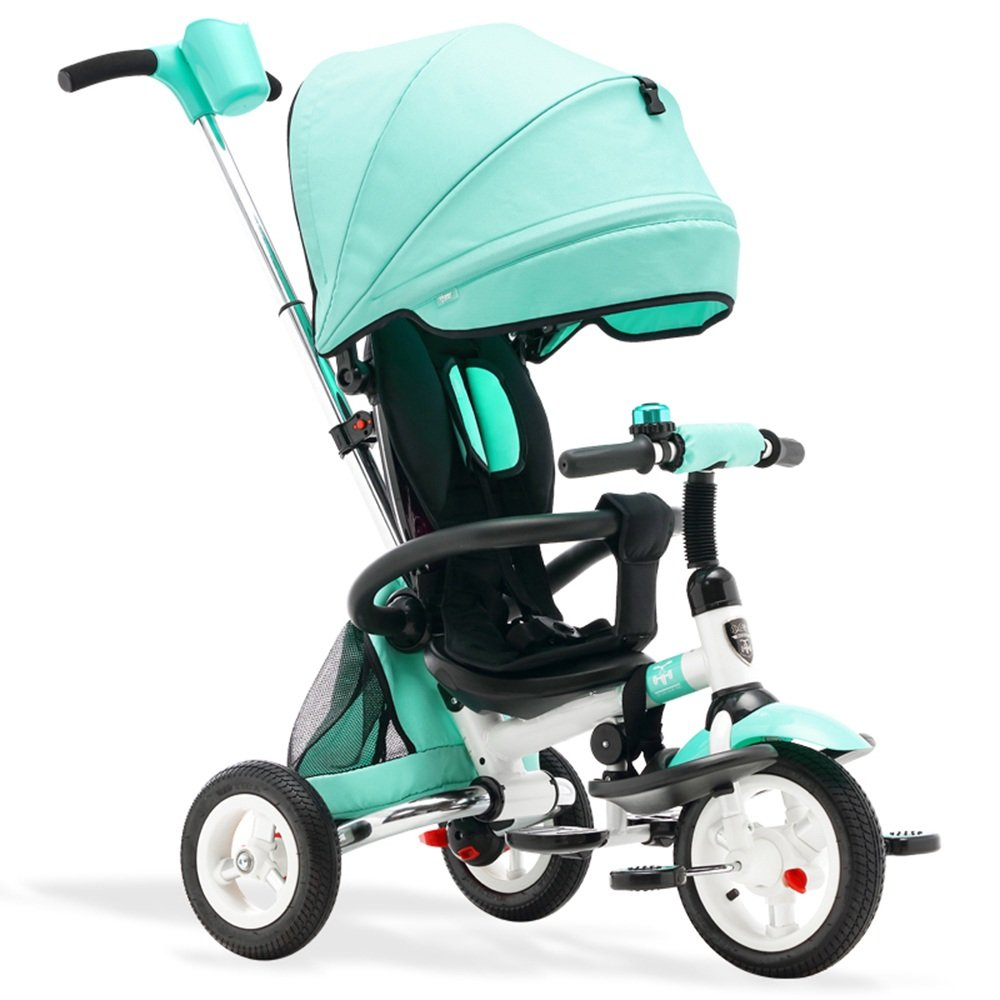 YANGFEI 子ども用自転車 キッズトライク3ウィーラー子供トリシクルライドオンバイク(親ハンドル付き) 212歳 B07DWQVFQL 緑 緑