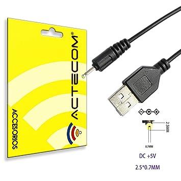 ACTECOM® Cable USB Cargador para Tablet Android mp3 2.5mm 5v 2A 1m alimentación DC Carga