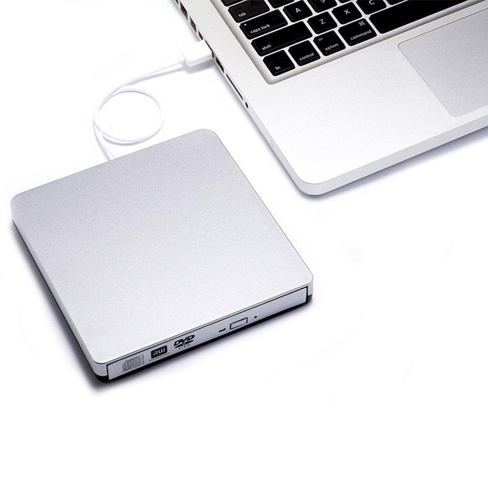 TOPTRU External CD Drive USB 2.0 DVD Burner Reader Recorder Writer Rewriter for Win10/Win8/Apple Macbook Pro, Desktop, Laptop,Notebook