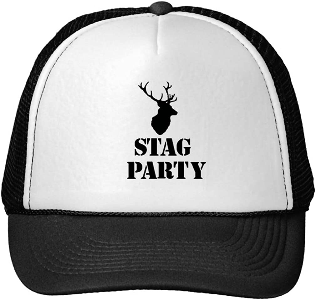 /&Quot;Stag Party/&Quot; Hats Stag Head Design Trucker Hat Black