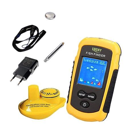 LUCKY Wireless Sonar Fish Finder 40m Profundidad Range Ocean Lake Sea Fishing Detector de peces resistente