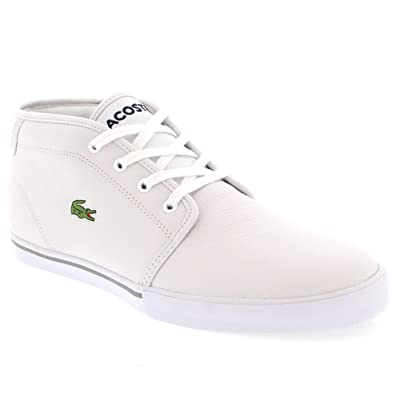 a8436aa18e54c0 Lacoste Mens Ampthill Mid Top Holiday Lace Up Leather Ankle High Trainer -  White White
