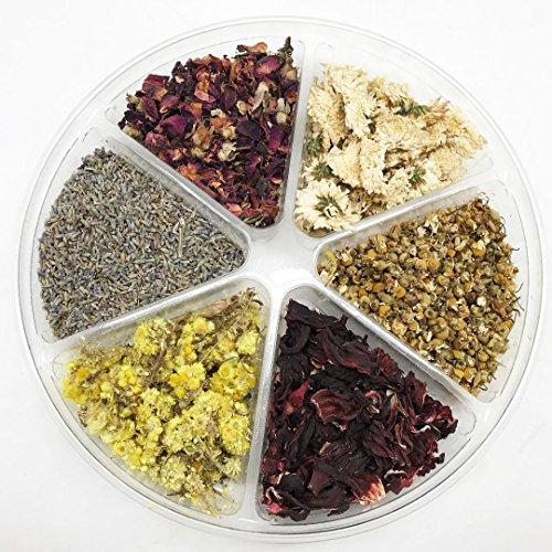 Life Sampler (PEPPERLONELY Organic Kosher Certified Botanical Dried Edible Flowers Sampler Kit - Lavender, Rose Buds & Petals, Chamomile, Life Everlasting, Chrysanthemum, Hibiscus)