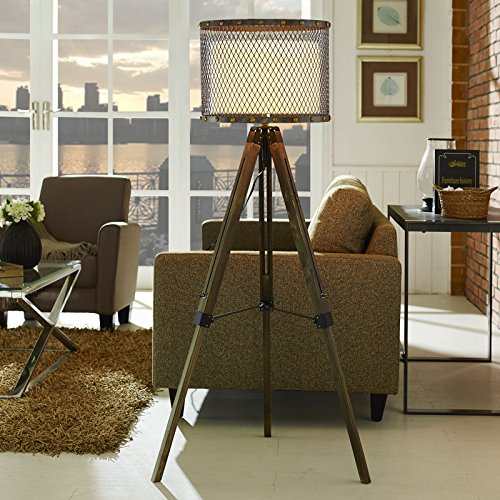 - Modway Fortune Steel Metal Industrial Modern Rustic Floor Lamp In Antique Silver