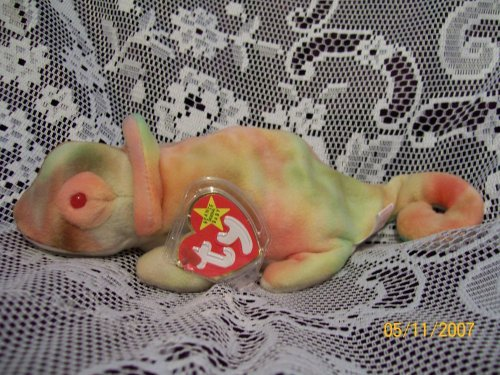 TY Beanie Baby RAINBOW the Chameleon tye-dye Iguana (with Rainbow tags, no frills on - Baby Ty Beanie Dye