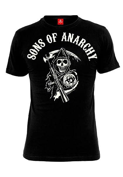Hijos de la anarquía camiseta para hombre del segador Logotipo de negro de algodón serie: Amazon.es: Ropa y accesorios