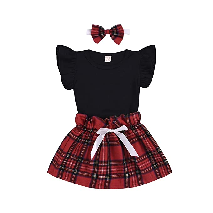 5b1fbd3db Toddler Infant Baby Girl Skirt Set Ruffle Plain T Shirts Plaid Skirt with  Headband 3PCS Outfit