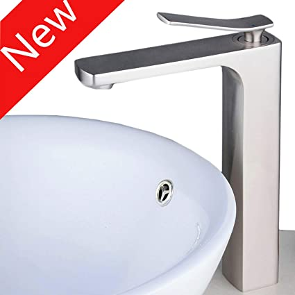 Countertop Bathroom Sink Faucet Deck Mounted Single Handle Tall Spout Bathtub Faucet Filter Bath Tub Mixer Vessel Taps Brushed Nickel