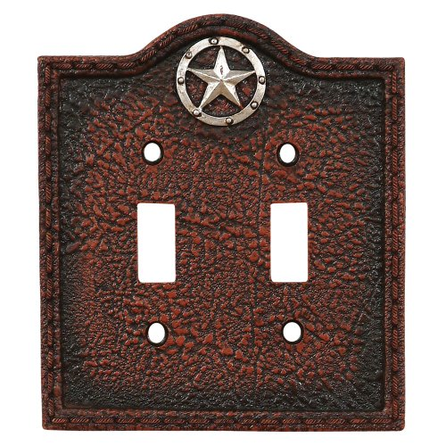 Lone Star Leather Western Double Switch Plate - Rustic Decor