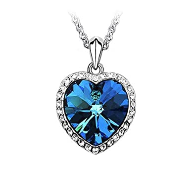 Blue Crystal Water Drop Necklace Clavicle Chain Pendant Necklace For Women Girl