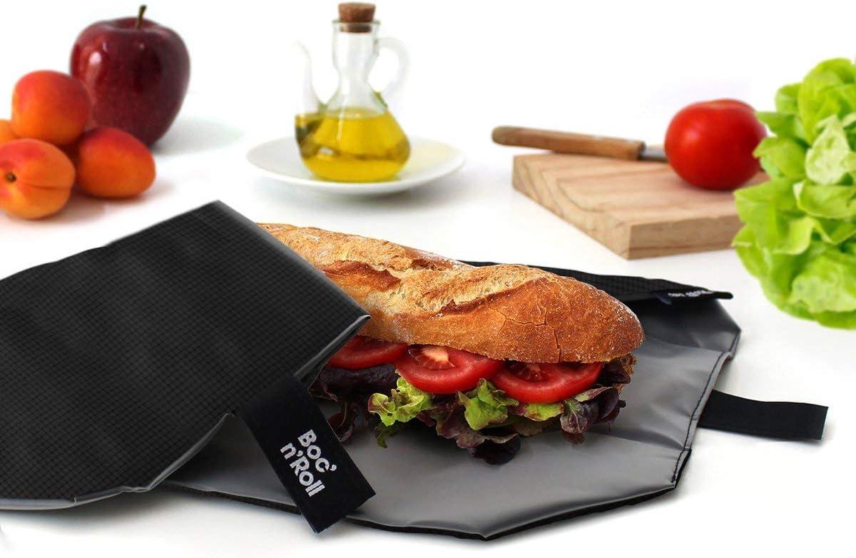 Roll'eat - Boc'n'Roll Square Bolsa Merienda Porta Bocadillos Ecológica y Reutilizable sin BPA, Negro