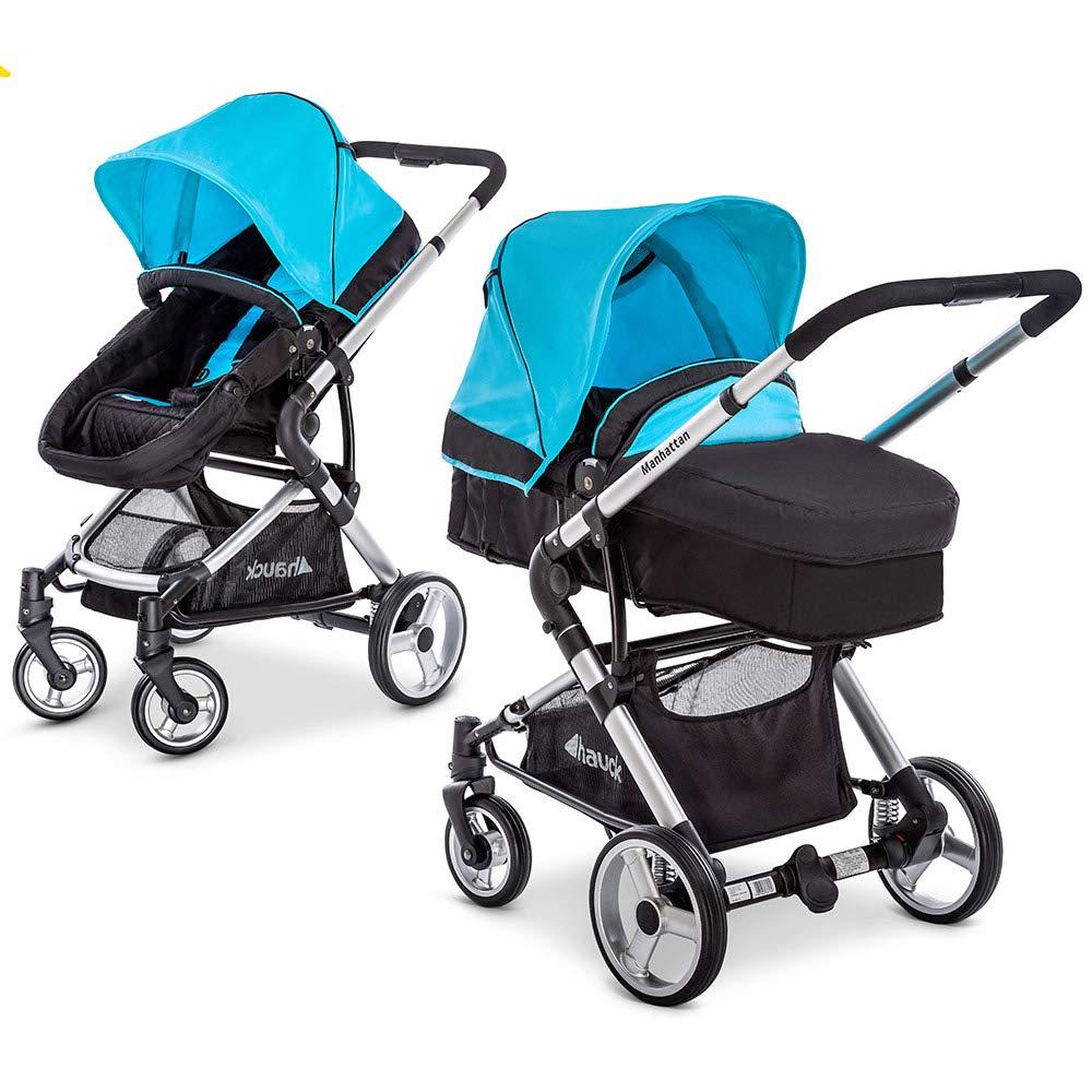 Hauck Kombi-Kinderwagen Manhattan - Kinderwagen-Set mit Babywanne und Sportwagen Aufsatz - Caviar Capri Blau M1001