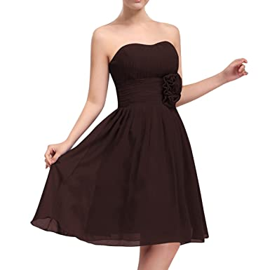 QINGYUAN Womens Sweetheart Bridesmaid Dress Chiffon Short Prom Dresses US 6 Chocolate at Amazon Womens Clothing store: