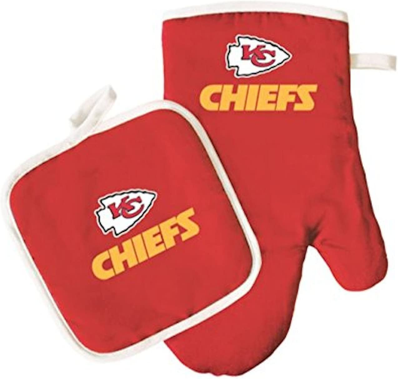 Kansas City Chiefs Oven Mitt & Pot Holder Set Cooking Grilling Barbecue Football