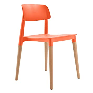 Deal Dhamaal Stacking Chair/Dining Chair/Living Room Chair/Cafe Chair/Canteen Chair/Outdoor Chair/Cafeteria Chair/Arm Less Side Chair/Molded ABS Plastic Chair with Wooden Leg (Orange)
