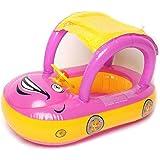 YEZOU Parasole per auto gonfiabile bambino Float Sedile Barca Spiaggia Acqua Piscina copertura (Viola + Giallo)