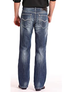 53c9f8f2e502 Rock and Roll Cowboy Mens Reflex Cannon Denim with Embroidery in Dark  Vintage M0C6618