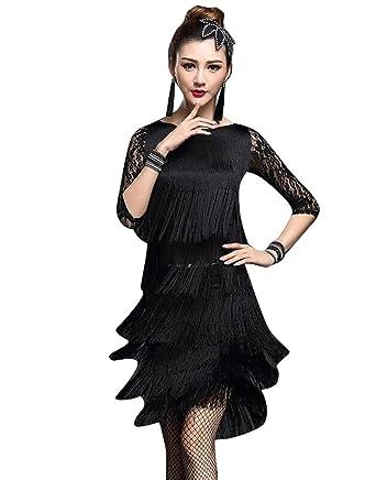Niseng Déguisement Salle Latin Bal Danse Tango Salsa De Rumba Cha Frange Robe rdoWCeQBx