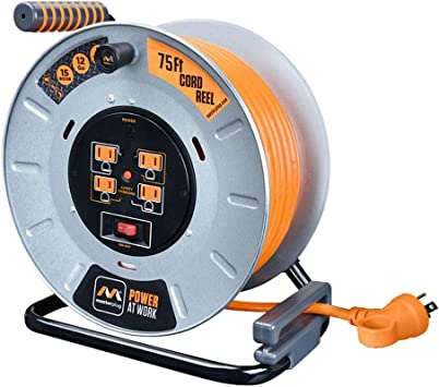 Amazon Com Masterplug Heavy Duty Metal Cord Reel With 4 120v 15amp Integrated Outlets And 12 Gauge High Visibility Cord 75ft Home Improvement