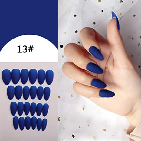 Puntas de uñas falsas mate de cubierta completa Manicura de uñas ...