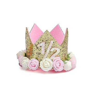 MOTZU Princess Tiara CrownBaby Girls Kids First Birthday Hat Sparkly Gold Flower Style