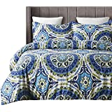 Vaulia Lightweight Microfiber Duvet Cover Set, Bohemia Style Exotic Patterns Design, Blue/Grey Reversible Color, Full/Queen Size