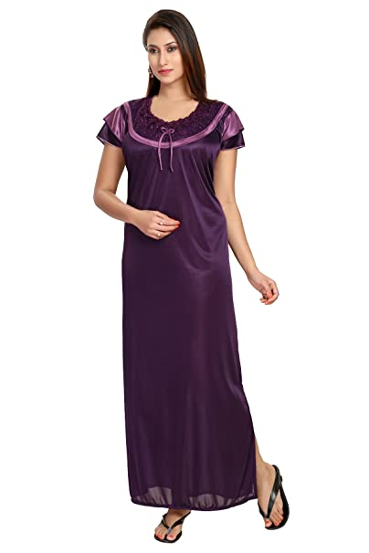 0ca6c3e978 Fashigo Women s Nightdress (FASNW099 Purple Free Size)  Amazon.in ...