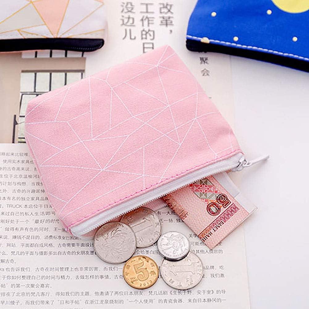 3# Yanbirdfx Dots Geometric Print Women Canvas Coin Purse Small Wallet Card Holder Clutch