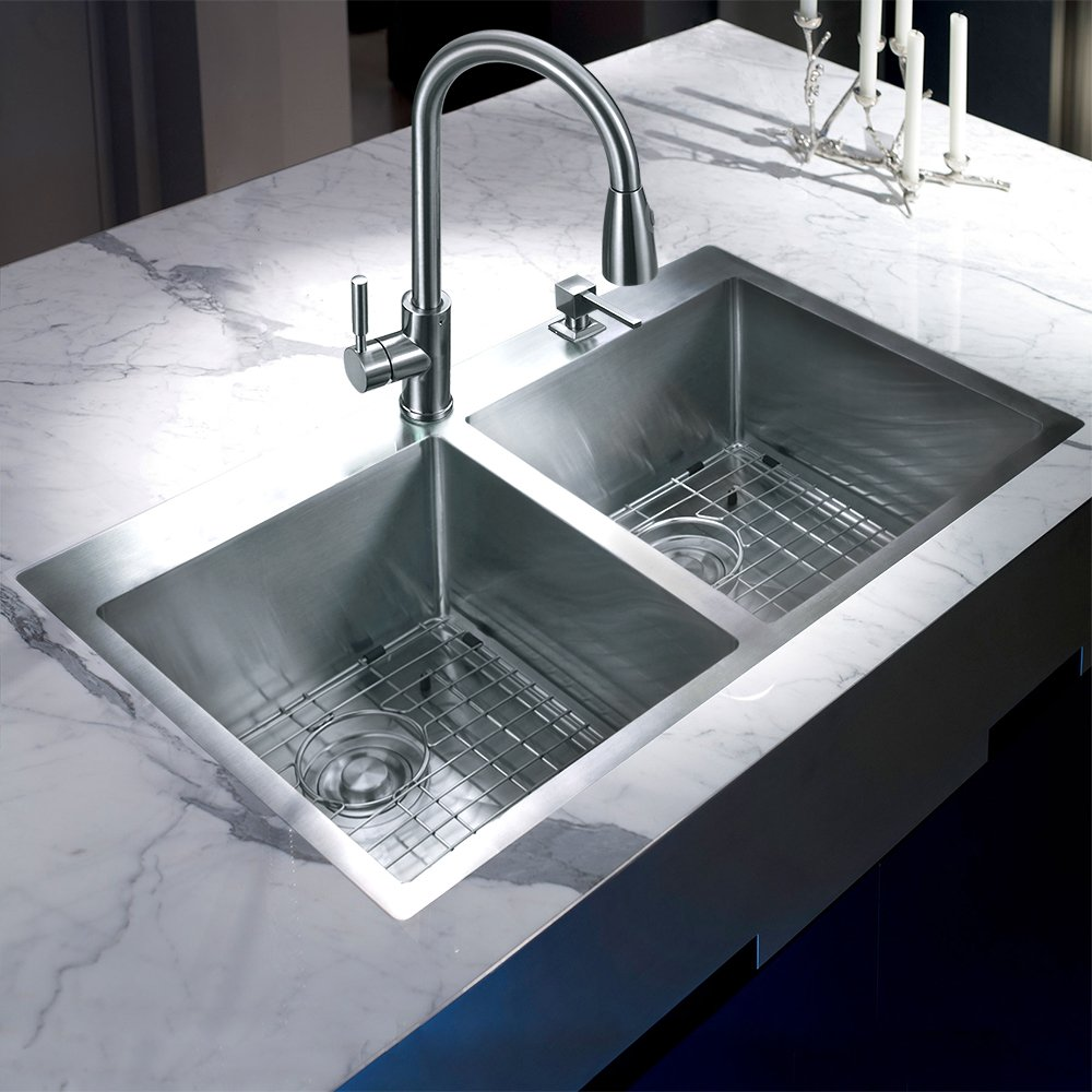 MOWA HTD33DE Upgraded Perfect Drainage Handmade 33'' 16 Gauge Stainless Steel Topmount 50/50 Double Bowl Kitchen Sink, Modern Tight-Radius Style & Commercial Deep Basin, w/Drain Set + Soap Dispenser by MOWA (Image #4)