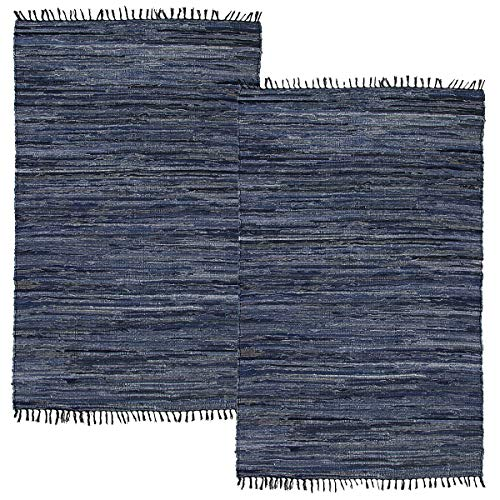 (Simply Living (2 Pack Denim Area Rug Home Décor Kitchen Living Room Blue Woven Rug Washable Chindi 2x3 Rag Rug)