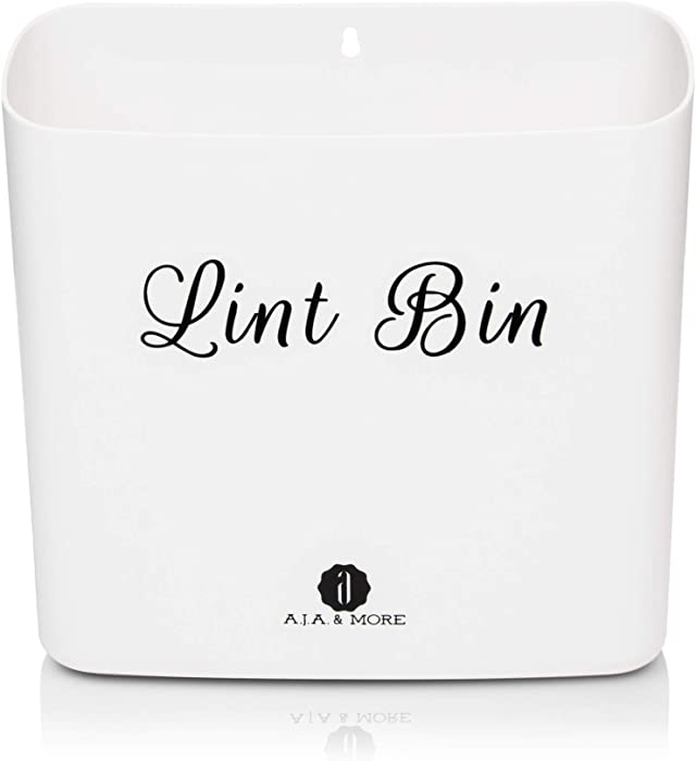 Lint Holder Bin for Laundry Room by A.J.A. & More | Space Saving Waste Bin with Magnetic Strip for Dryer, Washer, or Wall Mount (White)