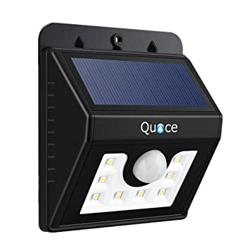 Quace 8 LED Motion Activated Bright Solar Light (Black, Plastic) Garden Lights at amazon