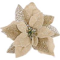 22cm Navidad Poinsettia Flower Glitter Artificial Hollow Flowers